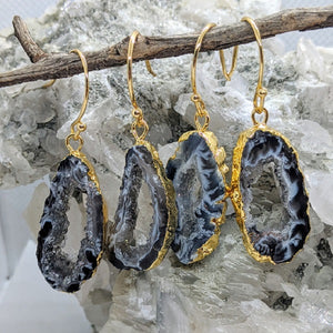 Druzy Agate earrings in gold