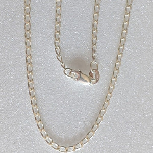 Long Curb Sterling Silver Necklace