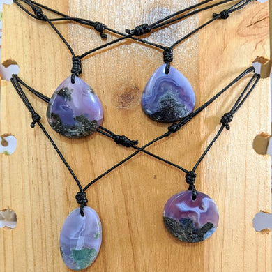 purple moss agate necklaces