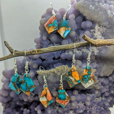 Spiny Oyster Turquoise Ear Rings