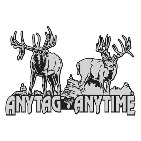 "Bull Elk-Mule Deer Decal Titled ""AnyTag AnyTime"" by Upstream Images"