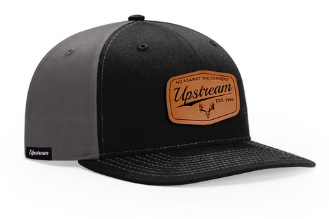 BLACK/CHARCOAL/LEATHER UPSTREAM HAT