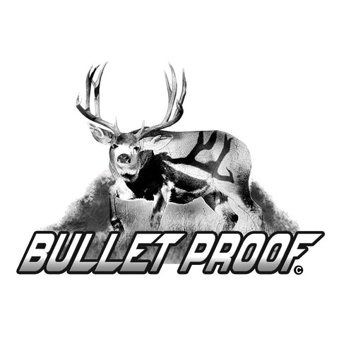 "MULE DEER DECAL Titled ""Bullet Proof"" By Upstream Images"