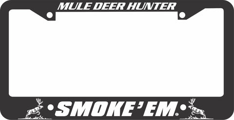 MULE DEER LICENSE PLATE FRAME-SMOKE EM