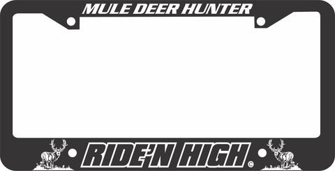 MULE DEER LICENSE PLATE FRAME - RIDING HIGH