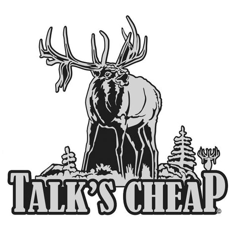 "BULL ELK DECAL Titled ""TALKS CHEAP"" By Upstream Images"
