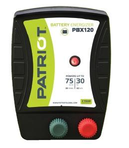 PATRIOT PBX 120 12V DC BATTERY POWERED FENCE CHARGER, 30 MILE / 100 ACRE | FREE SHIPPING AND FENCE TESTER - Speedritechargers.com