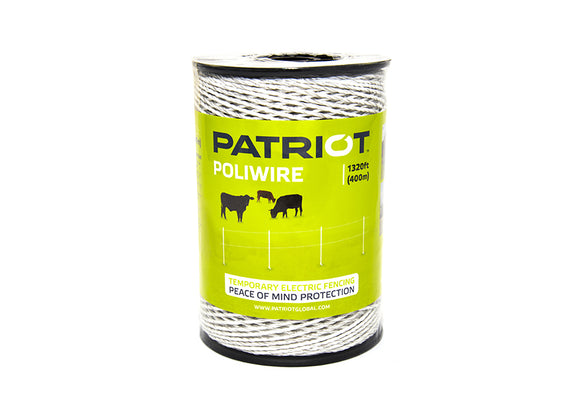 1320FT Patriot Poliwire  821448 (White, 1320ft/400m)  Ideal for use with Tread-In posts  6 stainless steel conductors, flexible, woven for strength and easy handling.  1 year warranty