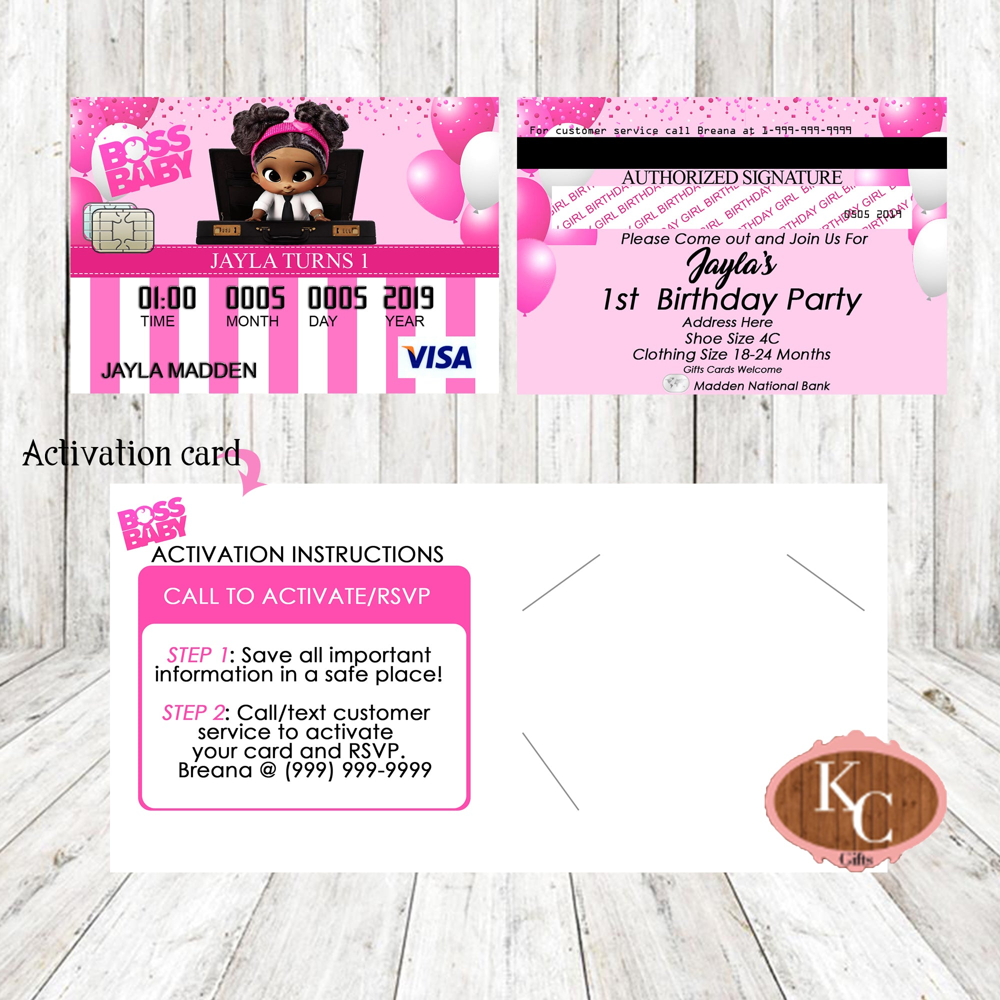 Boss Baby Credit Card Invitation Girl Shower Party