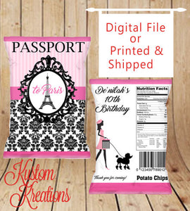 photo relating to Printable Chip Bags identified as Paris Take care of Luggage,Social gathering Take care of Luggage,Customized chip baggage,Custom made Bash Luggage, Customized Chip Baggage, Birthday Social gathering, Printable, Chip Luggage
