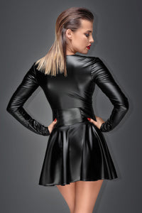 Minikleid aus elastischem Powerwetlook, Back