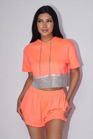Bling It Rhinestone Shorts Set