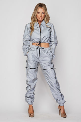 Flash Reflective Zipper Jogger Set