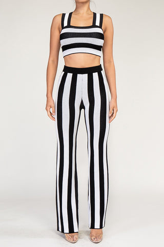 STRIPE SQUARE NECK CROP TOP PANTS SET