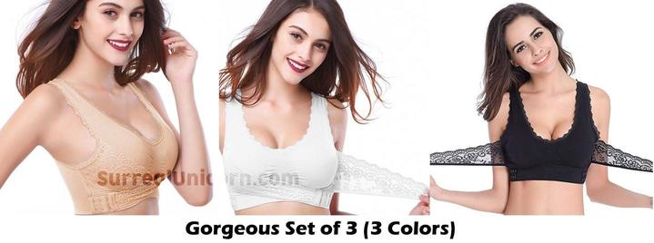 Dimo™- Wireless Front Cross Buckle Lace Lift Bra