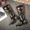 Women Cow Suede Embroidery Boots