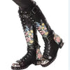 Embroidered Leather Print Flower Flat Motorcycle Boots