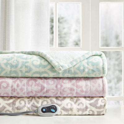 Lattice Pattern Soft  Heated Blanket Wrap - 50 x 64