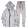 Plain Polyester Casual Hooded Zipper Men's Suits