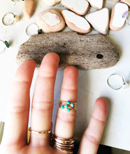 Load image into Gallery viewer, Gold and Turquoise Petite Ring