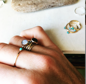 Gold and Turquoise Petite Ring