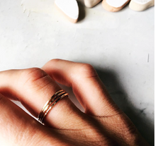 Load image into Gallery viewer, Gold hammered stacking ring