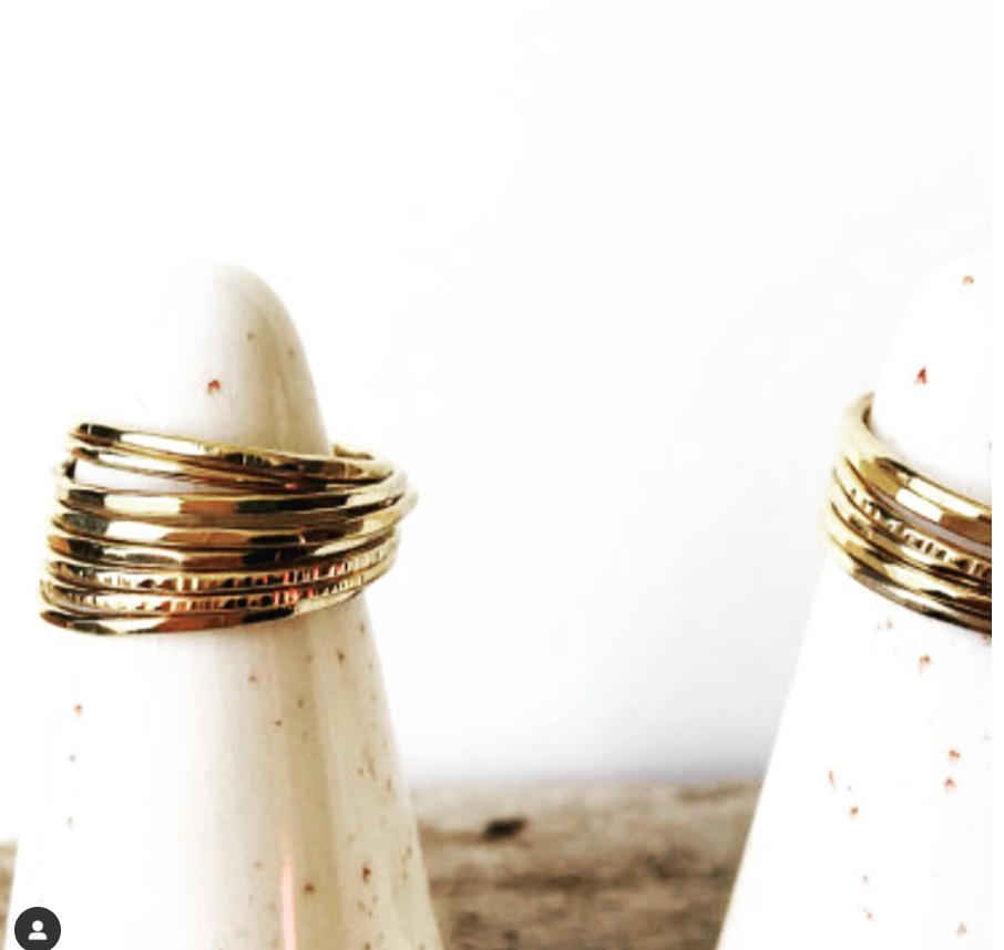 Gold hammered stacking ring