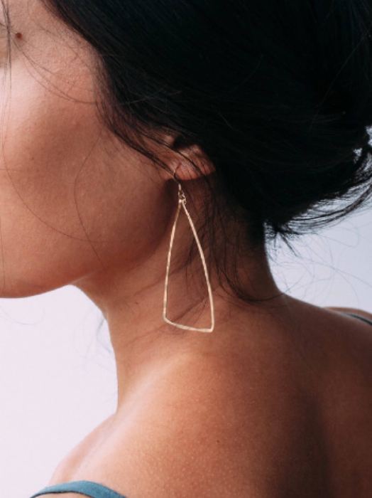 Hammered Gold or Silver Triangle Earring