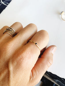 Petite black spinel stacking Ring