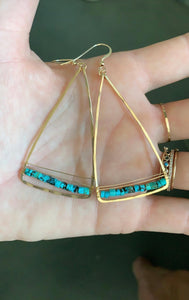 Triangle Earring with gemstone