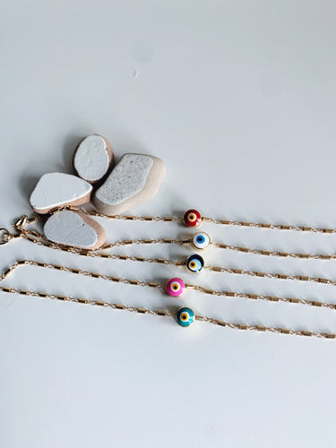 Colorful evil eye stackable bracelet