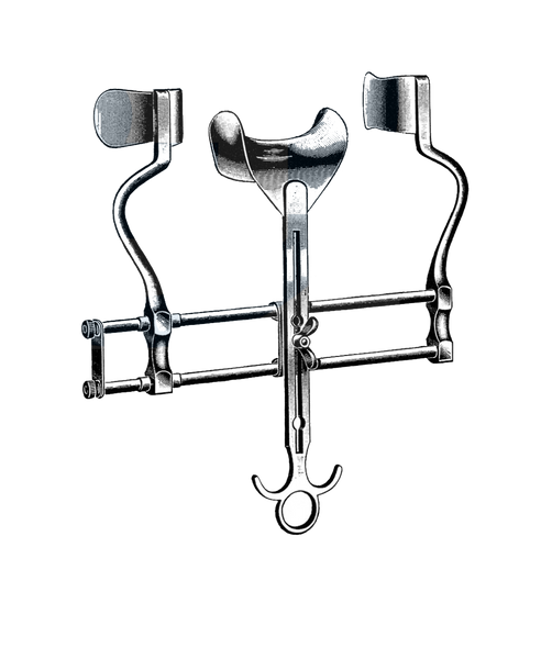 "Balfour Retractor, 7"" Spread (18 cm), Sliding Bar, 2 1/2"" Deep (63 mm) W/ Solid Blades, Center Blade 1 3/4"" x 3 1/4"" (45 mm x 80 mm)"