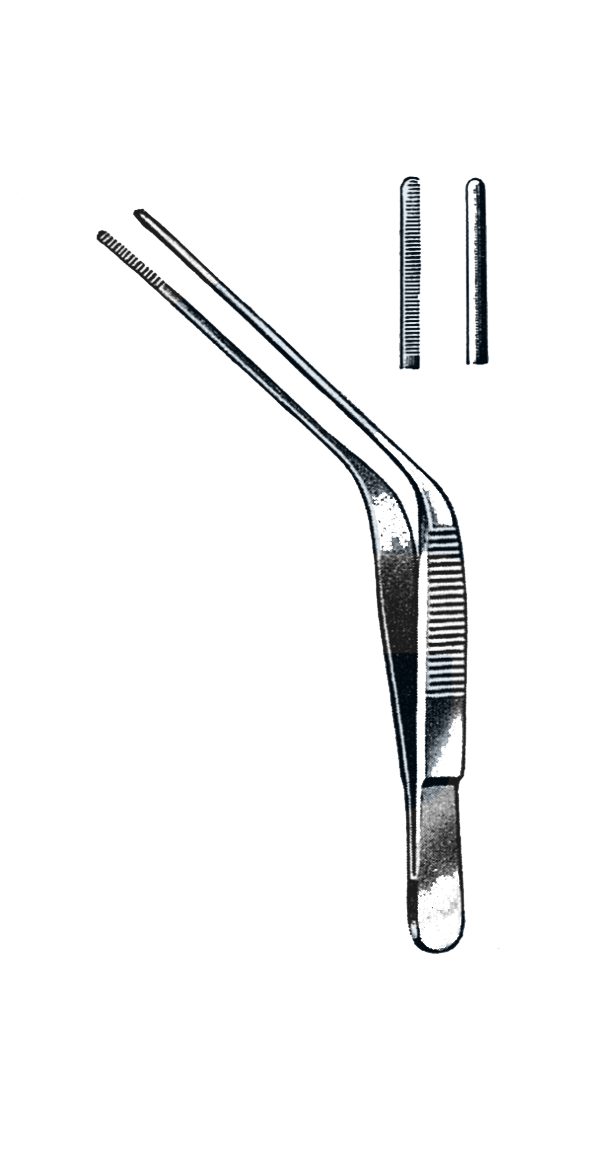 "Wilde Ear Forceps, Angular, Serrated Tips 5"" (12.5 cm) - Garana Industries"