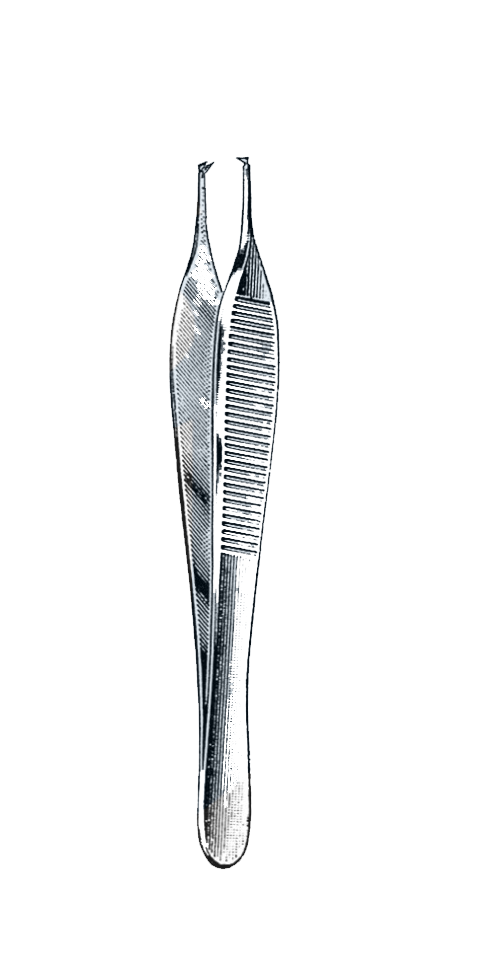 "Hudson ( Ewald ) Dressing & Tissue Forceps 1 x 2 Teeth,  4 3/4"" (12 cm) - Garana Industries"