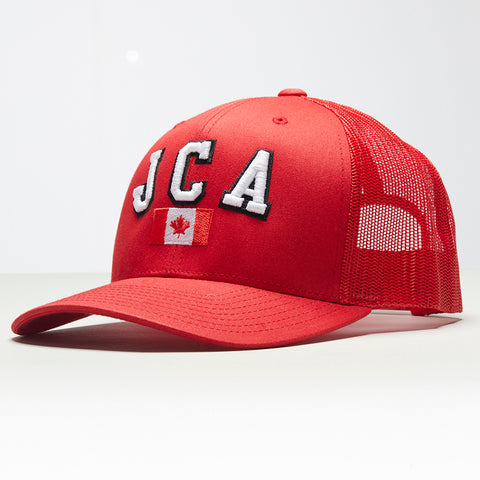 John Charles Apparel – JCA Canada – TRADEMARK Adjustable Mesh Trucker Cap - RED