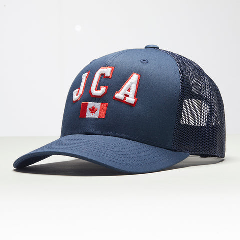 John Charles Apparel – JCA Canada – TRADEMARK Adjustable Mesh Trucker Cap - BLUE