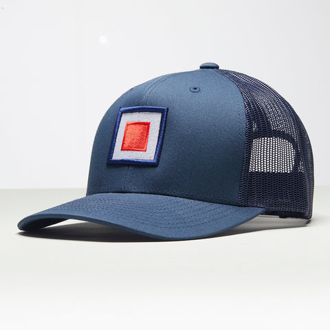 John Charles Apparel – TARGET – TRADEMARK Adjustable Mesh Trucker Cap - BLUE