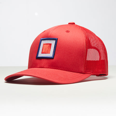 John Charles Apparel – TARGET – TRADEMARK Adjustable Mesh Trucker Cap - RED