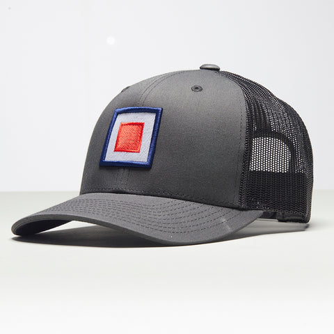 John Charles Apparel – TARGET – TRADEMARK Adjustable Mesh Trucker Cap - GREY/BLACK