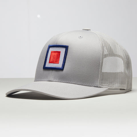 John Charles Apparel – TARGET – TRADEMARK Adjustable Mesh Trucker Cap - SILVER