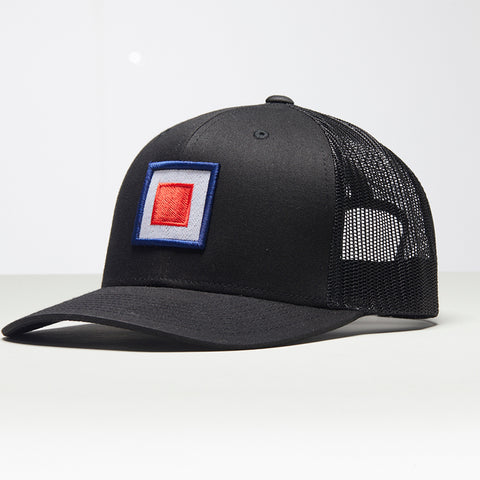 John Charles Apparel – TARGET – TRADEMARK Adjustable Mesh Trucker Cap - BLACK