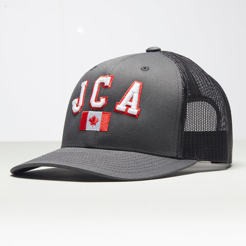 John Charles Apparel – JCA Canada – TRADEMARK Adjustable Mesh Trucker Cap - GREY