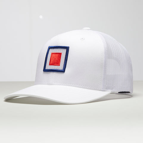 John Charles Apparel – TARGET – TRADEMARK Adjustable Mesh Trucker Cap - WHITE
