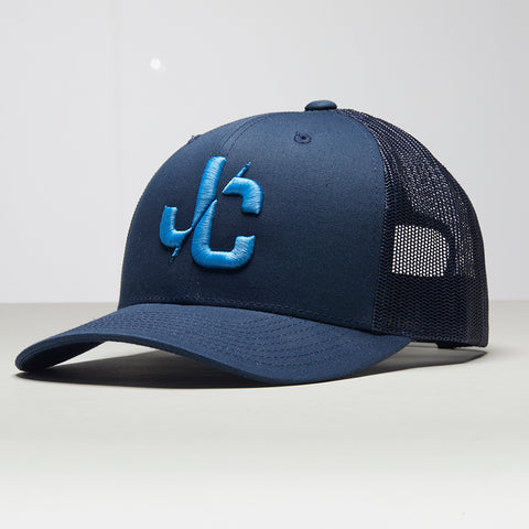 John Charles Apparel – JC– CLASSIC Adjustable Mesh Trucker Cap - BLUE/LBLUE