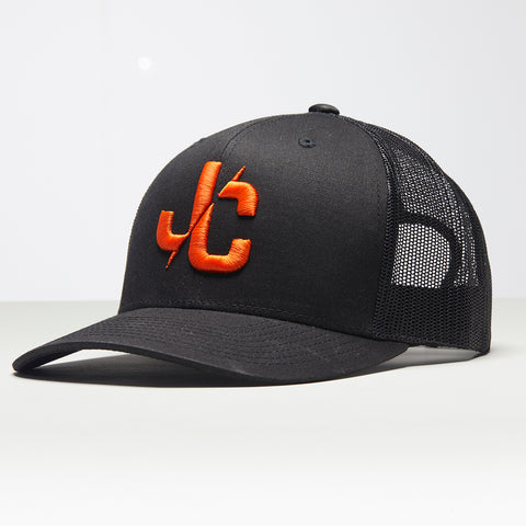 John Charles Apparel – JC– CLASSIC Adjustable Mesh Trucker Cap – BLACK/ORANGE