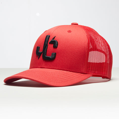 John Charles Apparel – JC– CLASSIC Adjustable Mesh Trucker Cap - RED/BLACK