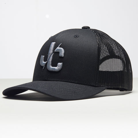 John Charles Apparel – JC– CLASSIC Adjustable Mesh Trucker Cap - BLACK/SILVER