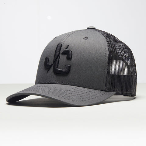 John Charles Apparel – JC– CLASSIC Adjustable Mesh Trucker Cap - LGREY/BLACK