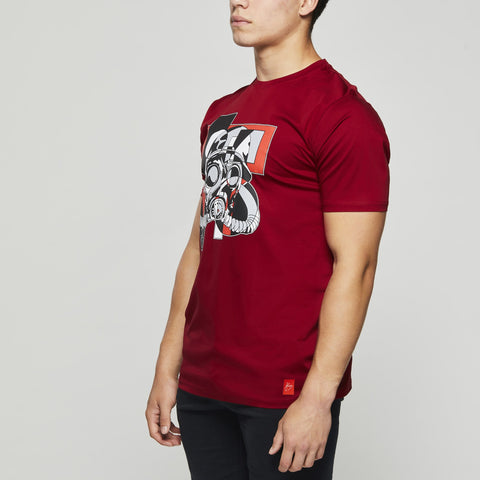 Luxury Classic Cotton – John Charles Designed GAS MASK Graphic T-Shirts with Ultra Soft Finish - RED