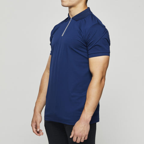 John Charles Designed ZIP Polo Shirts with Ultra Soft Finish - BLUE